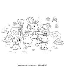 coloring page outline cartoon boy making stock vector 541149610