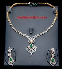 simple diamond sets simple diamond necklace set jewellery designs