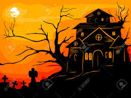 halloween castle grave yard background with a spooky haunted