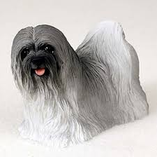 lhasa apso painted figurine statue gray
