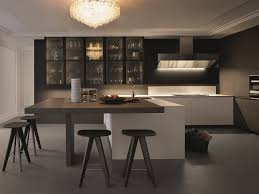 lacquered kitchen with integrated handles with peninsula trail by