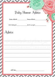 advice cards for baby shower advice cards coral mint flowers chevron