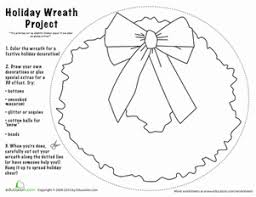 christmas wreath craft worksheet education com