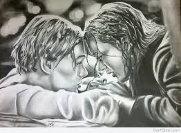 pencil sketch of rose and jack in titanic movie desipainters com