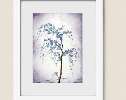 Willow Tree Home Decor Watercolor Tree Wall Print 11 X 14 Nature Art Blue Green