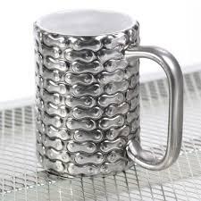 Novelty Coffee Mugs by Bike Chain Pattern Silver Stoneware Mug Novelty Coffee Mugs