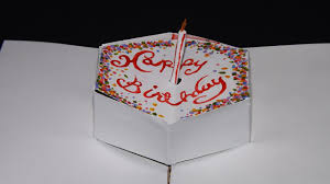 easy pop up birthday cake card and candle youtube