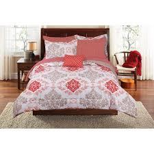 Pink And Grey Comforter Set Mainstays Coral Damask Bed In A Bag Bedding Set Walmart Com