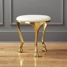 Vanity With Stool Gallop White And Gold Stool Cb2