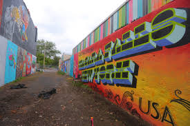 new greetings from buffalo mural appears on ellicott street a view of art alley on the 400 block of third street seen on tuesday