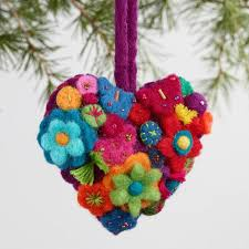 felt with flowers ornaments set of 3 world market