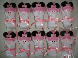 minnie mouse baby shower favors baby washclothes instead of napkins shower ideas