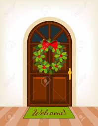 brown wooden door with christmas holy wreath royalty free cliparts