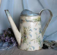 Shabby Chic Flower Pots by Watering Can Decoupage Forger Me Not Flowers Shabby Chic Flower