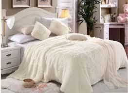 Faux Fur Comforter Set King Comfy Luxe Faux Fur 6pcs Soft Blanket Set King Size White Price