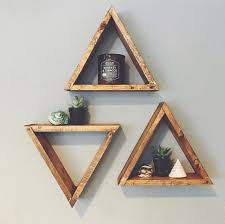set of 3 wood triangle shelf geometric wall shelf boho wall