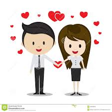 cute couple in love holding hands cartoon characters stock vector