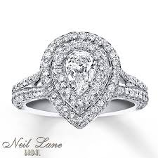 neil pear shaped engagement ring neil bridal ring 1 3 4 ct tw diamonds 14k white gold