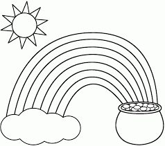 kids rainbow pot of gold sun and cloud coloring pages printable