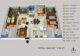 3 Bhk Apartment Floor Plan by 3 Bhk 1700 Sq Ft Apartment For Sale In Samruddhi Winter Green At