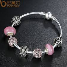 silver charm bead bracelet images Bamoer silver charm bracelet bangle with open your heart crown jpg