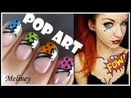 pop art french tip manicure comic cartoon nail art design