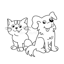 pets coloring page coloring page outline of cartoon cat with dog pets coloring book