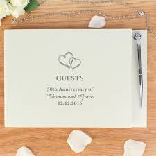 50th anniversary guest book personalized personalised hardback guest book with pen hearts gifts