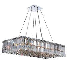 Rectangle Chandeliers Worldwide Lighting Cascade Collection 16 Light Polished Chrome