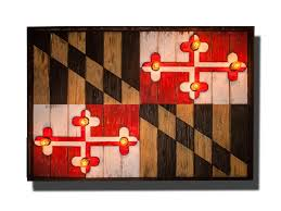 Flag Of Baltimore Maryland Flag Limited Edison Edition Weathered Wood One Of A