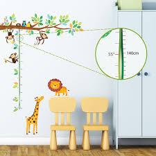 amazon com decowall dw 1206 jungle peel stick nursery wall decowall dw 1402 little monkeys tree and animals height chart kids wall decals wall stickers