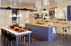 art deco galley kitchen with blue painted wooden kitchen island