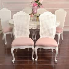 Cane Back Dining Room Chairs Shabby Cottage Chic Set 6 Dining Chair White Cane Back Pink Linen