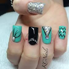 mint green teal black and silver acrylic birthday nails