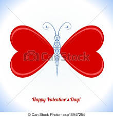 butterfly with wings in the form of hearts clipart vector