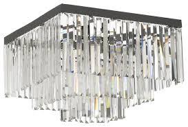Odeon Crystal Chandelier Retro Odeon Crystal Glass Fringe 3 Tier Flush Mount Chandelier