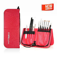 kupa inc nail art brushes set w case kolinsky handcrafted