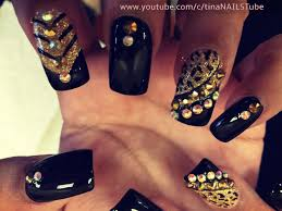 leopard nails black and gold nails nail design youtube