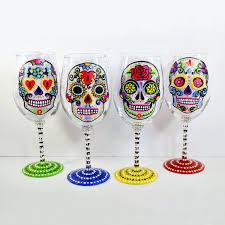 Sugar Skull Hand Painted Wine Glasses Sugar Skull Wine