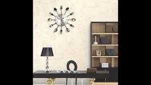 modern kitchen clock modern design sliver cutlery kitchen utensil diy wall clock spoon