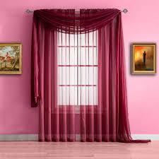 warm home designs dark burgundy window scarf sheer burgundy