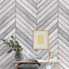 chevron grey white wood accent mural wall wallpaper peel and