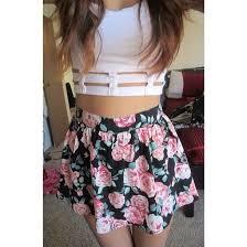 skirt floral white crop tops pastel hipster summer light