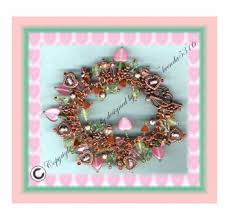 copper charm bracelet images Copper handcrafted clasp bracelet lampwork glass beads hearts flowers png