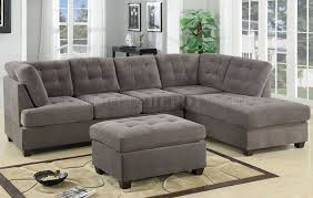 Tufted Sectional Sofas F7139 Reversible Tufted Sectional In Charcoal Suede By Poundex