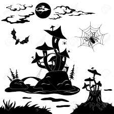 halloween silhouette vector 15170799 halloween cartoon landscape magic castle stock vector