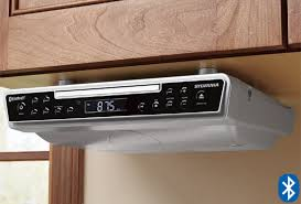 under cabinet stereo cd player sylvania under cabinet cd player with bluetooth fm radio clock