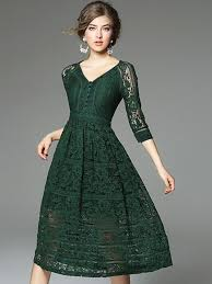 green v neckline hollow out lace dress wish list pinterest