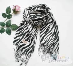 zebra print pashmina cashmere scarf shawl black white