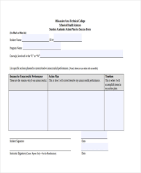 8 student action plan templates free sample example format